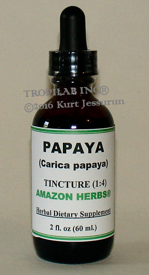 Papaja tincture (Carica papaya) - Tropilab. Papaya tincture contains natural enzymes papain and chemopapain used in treatments, arthritis and intestinal worms.