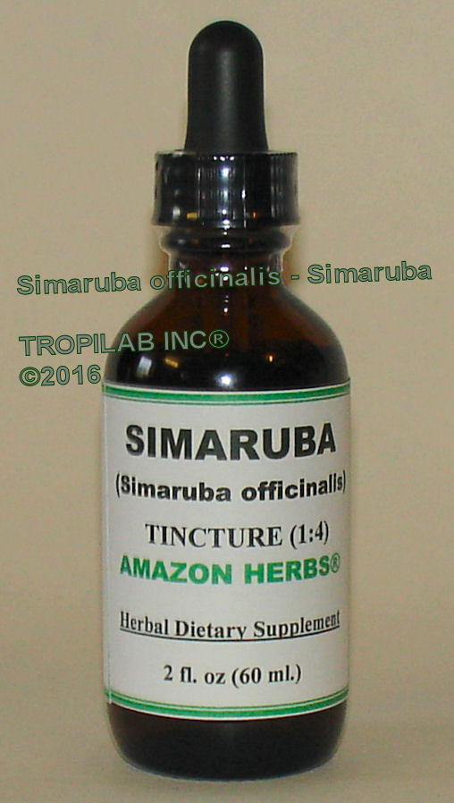 Simarouba officinalis - Simaruba tincture, price US$18.65 per 2 fl oz. The powdered or chopped up bark is used for infections,